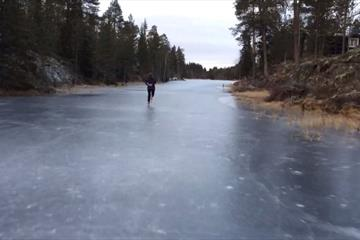 Ice Skating on Lake Laupen in Totenåsen