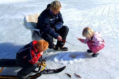 Ice fishing near Fjordtitt