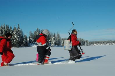 Ice fishing near Sveastranda